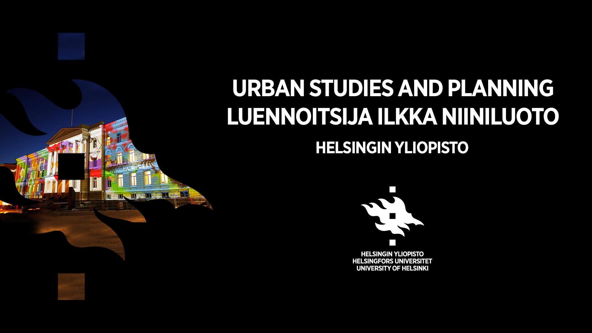 Urban Studies and planning, luennoitsija Ilkka Niiniluoto